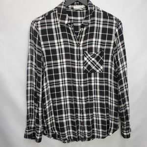 Garage Black Plaid Flannel Button Down